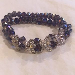 Elastic two purple strands & 4 crystal butterflies